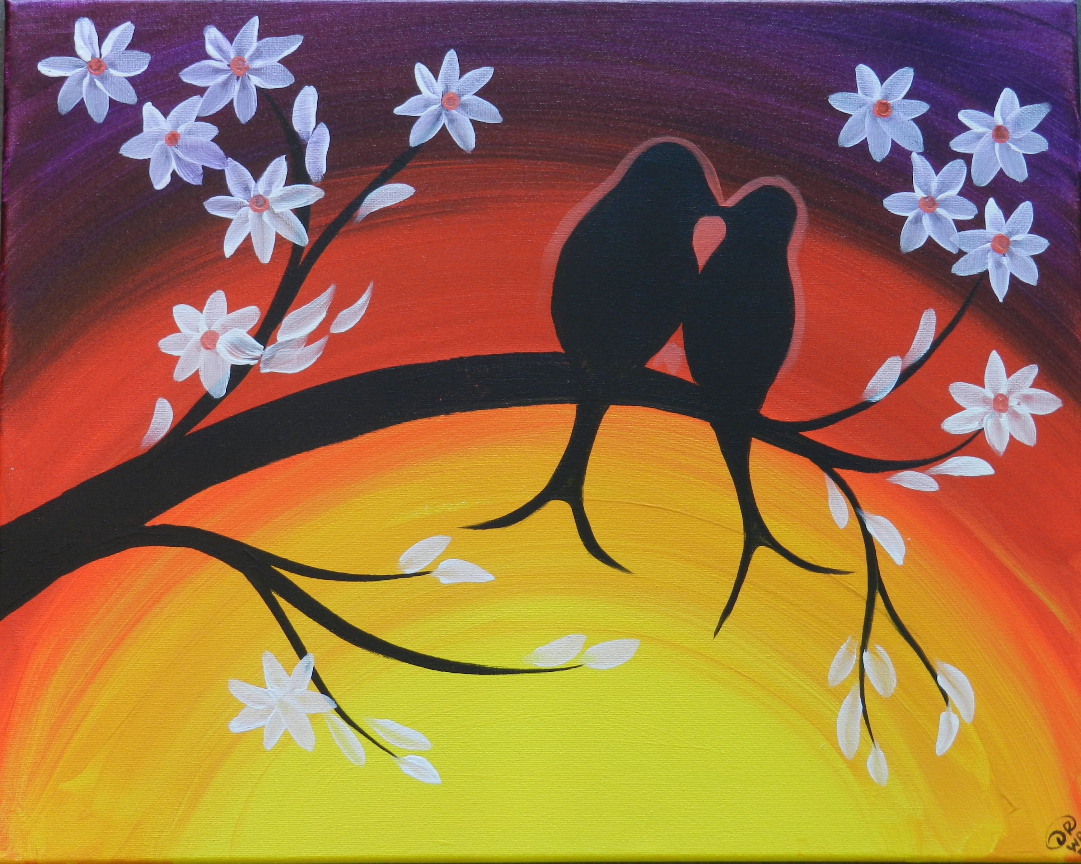 Wine and Canvas Party | Birds of a Feather : Wine Paint Canvas ...
