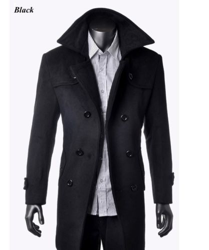 Hot Sell Fashion Men's Wool Coat Winter Trench Coat Outear Overcoat Long Jacket | eBay