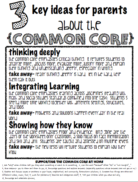 Common core handout for parents.  Simple description of common core.  Parent teacher conferences