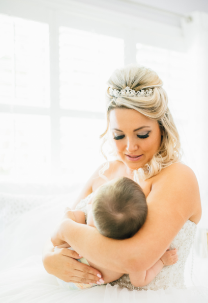 Bride Breastfeeds Baby During Wedding Ceremony In Sweet