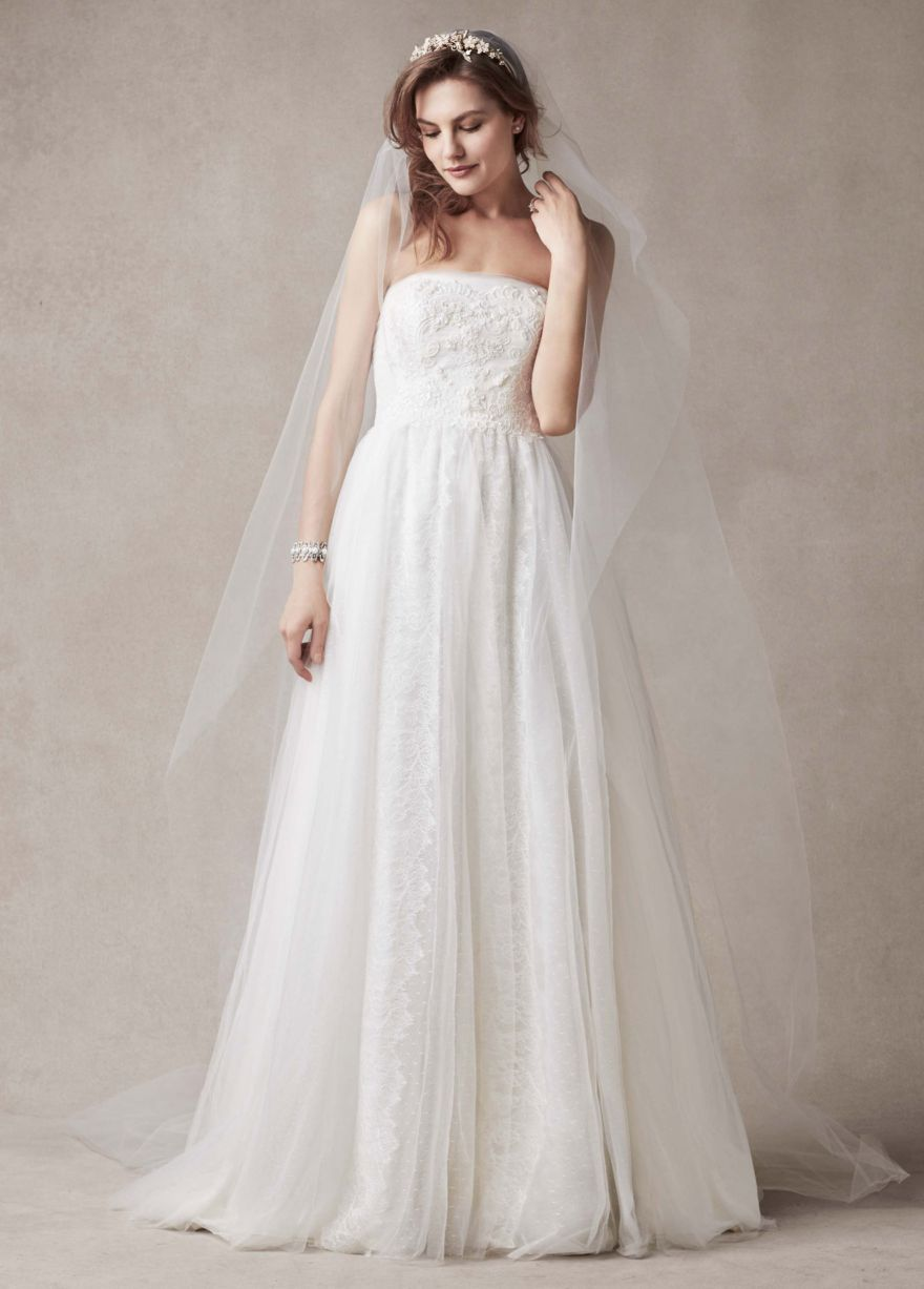 Strapless sheath gown with banded lace overlay davidus bridal