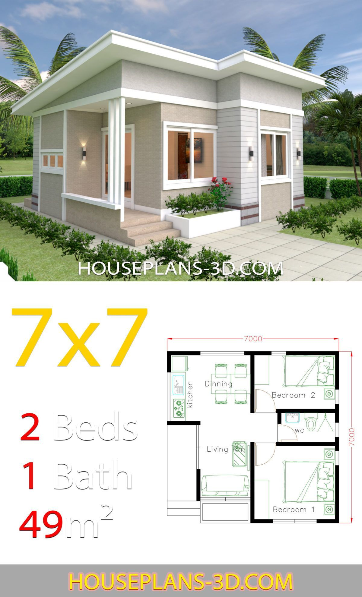 2 Bedroom House Designs Pictures 2 Bedroom House Designs Pictures 2020 House Design 6x7 Wit Small House Design House Design Pictures Small House Design Plans