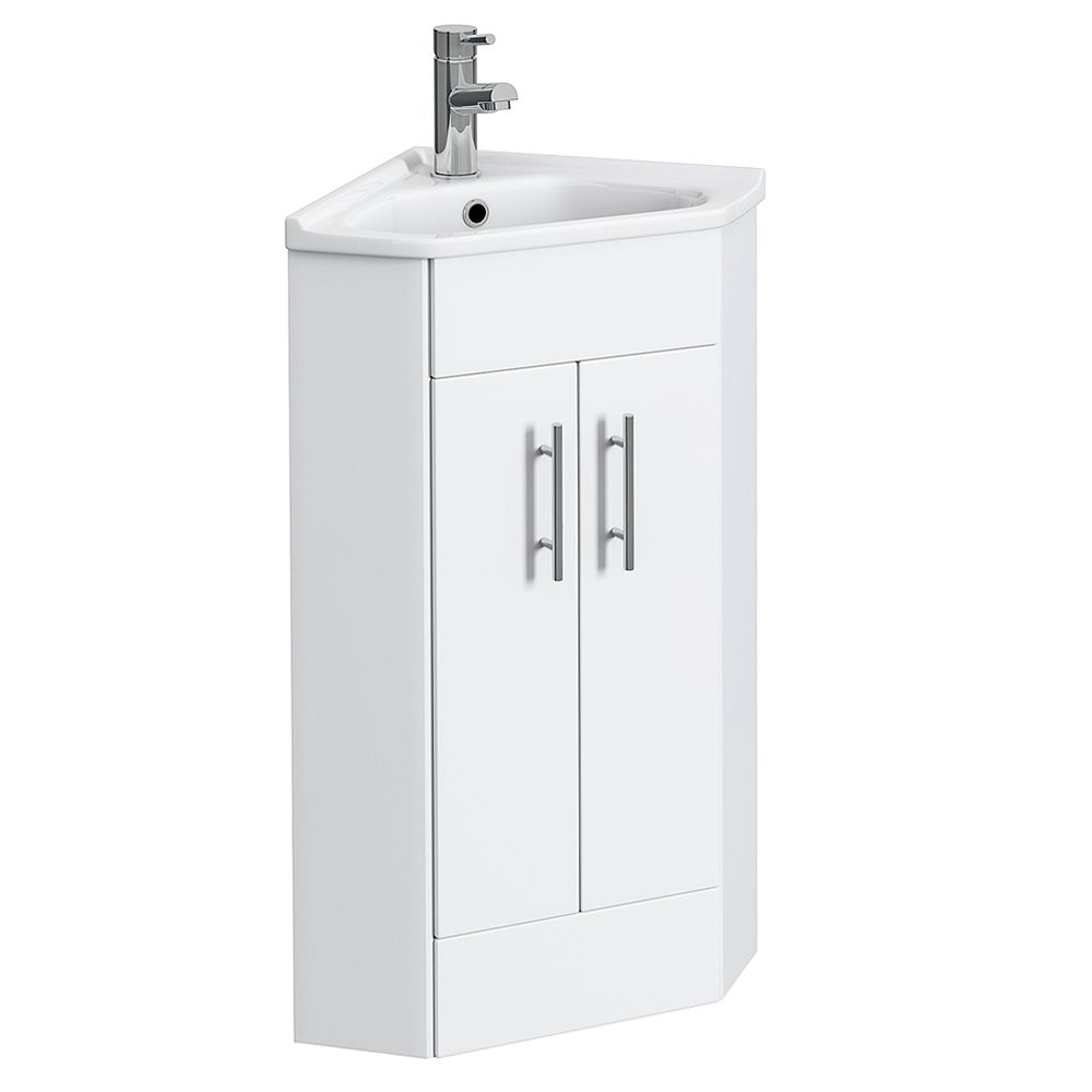 Alaska High Gloss White Corner Cabinet Vanity Unit With Ceramic Basin Vanity Units Corner Vanity Unit White Corner Cabinet