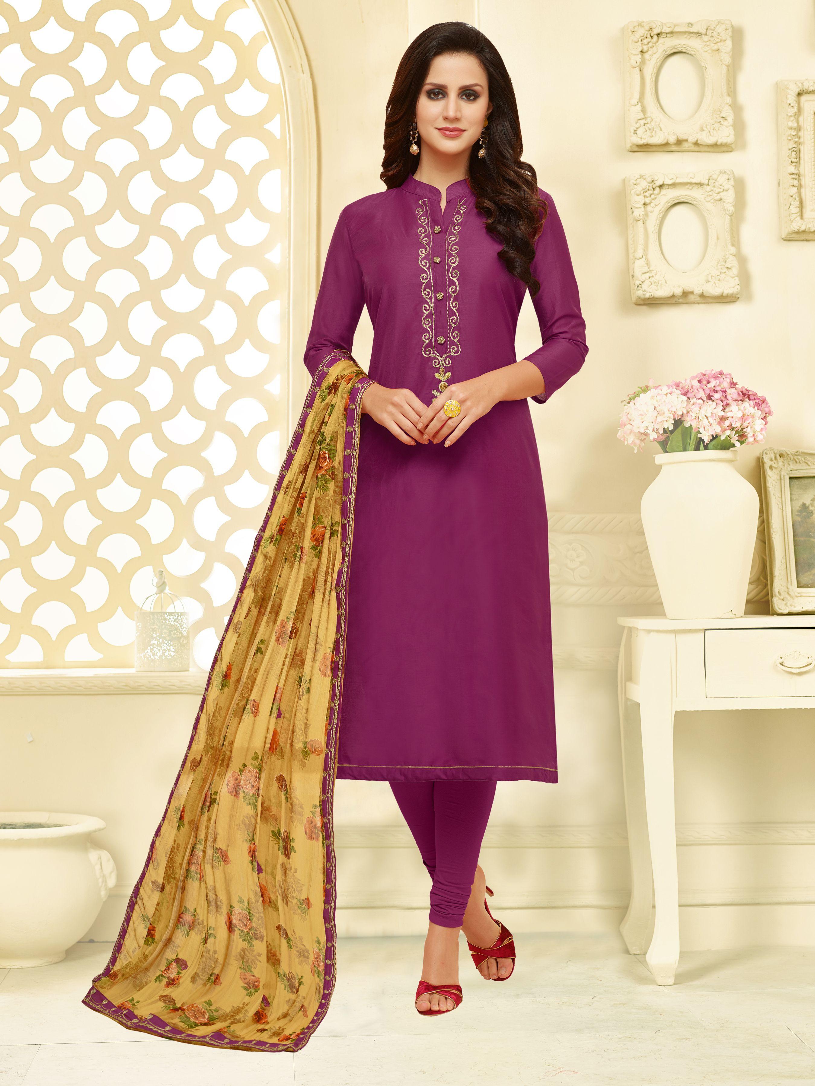 8b10eddcb6 #Pink Ratnavati Chanderi Cotton Self Design Semi-stitched Salwar Suit  Dupatta Material
