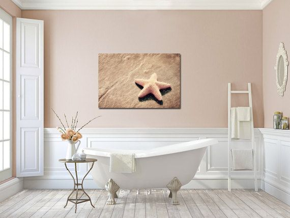 Beach Canvas Art Starfish Bathroom Art Peachy Pink Sand Warm Pink Seashell  Large Canvas Gallery Wrap. Beach Canvas Art Starfish Bathroom Art Peachy Pink Sand Warm Pink