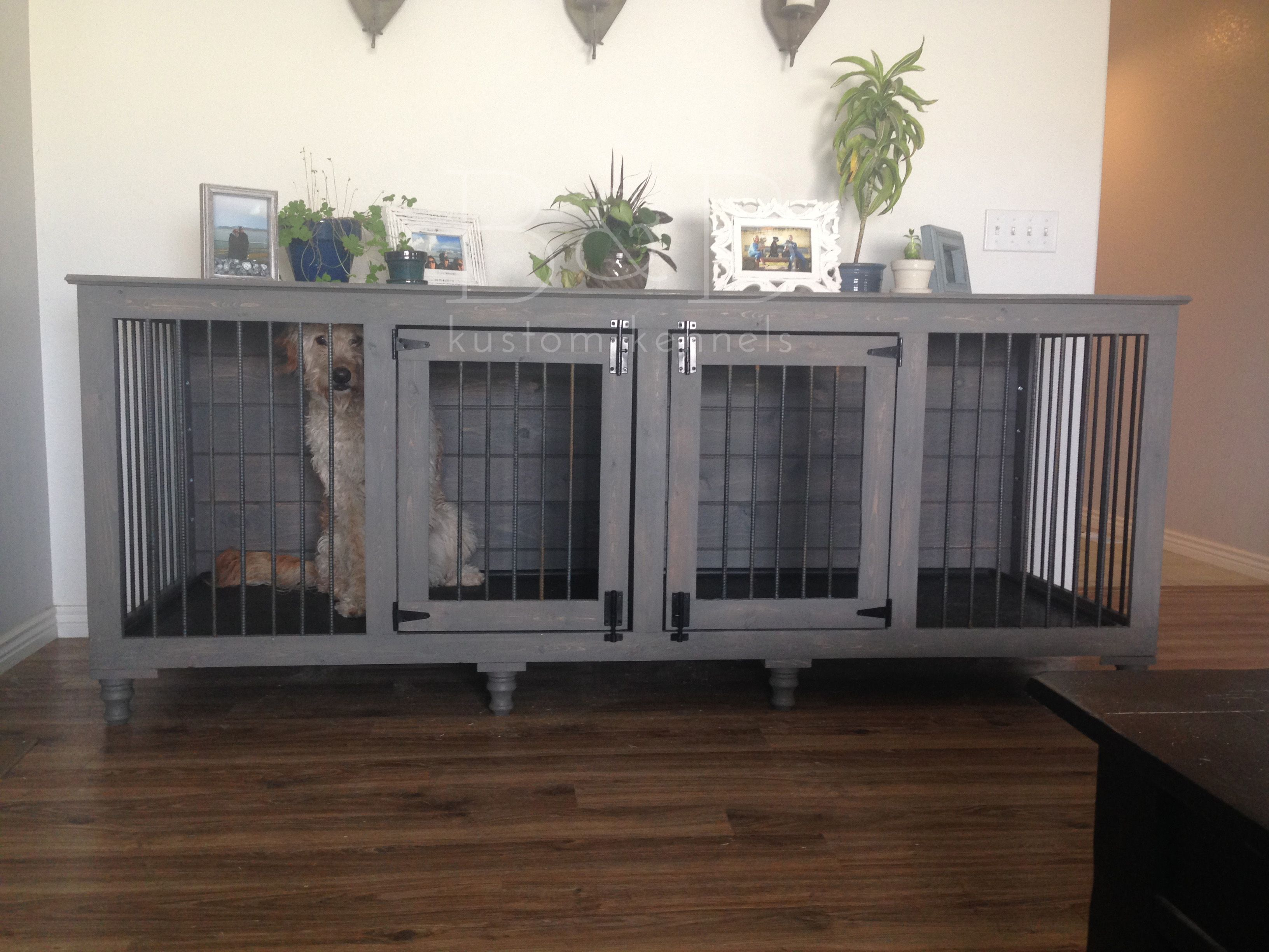 Bb kustom kennels doggies dog crate and dog for Xl dog crate furniture