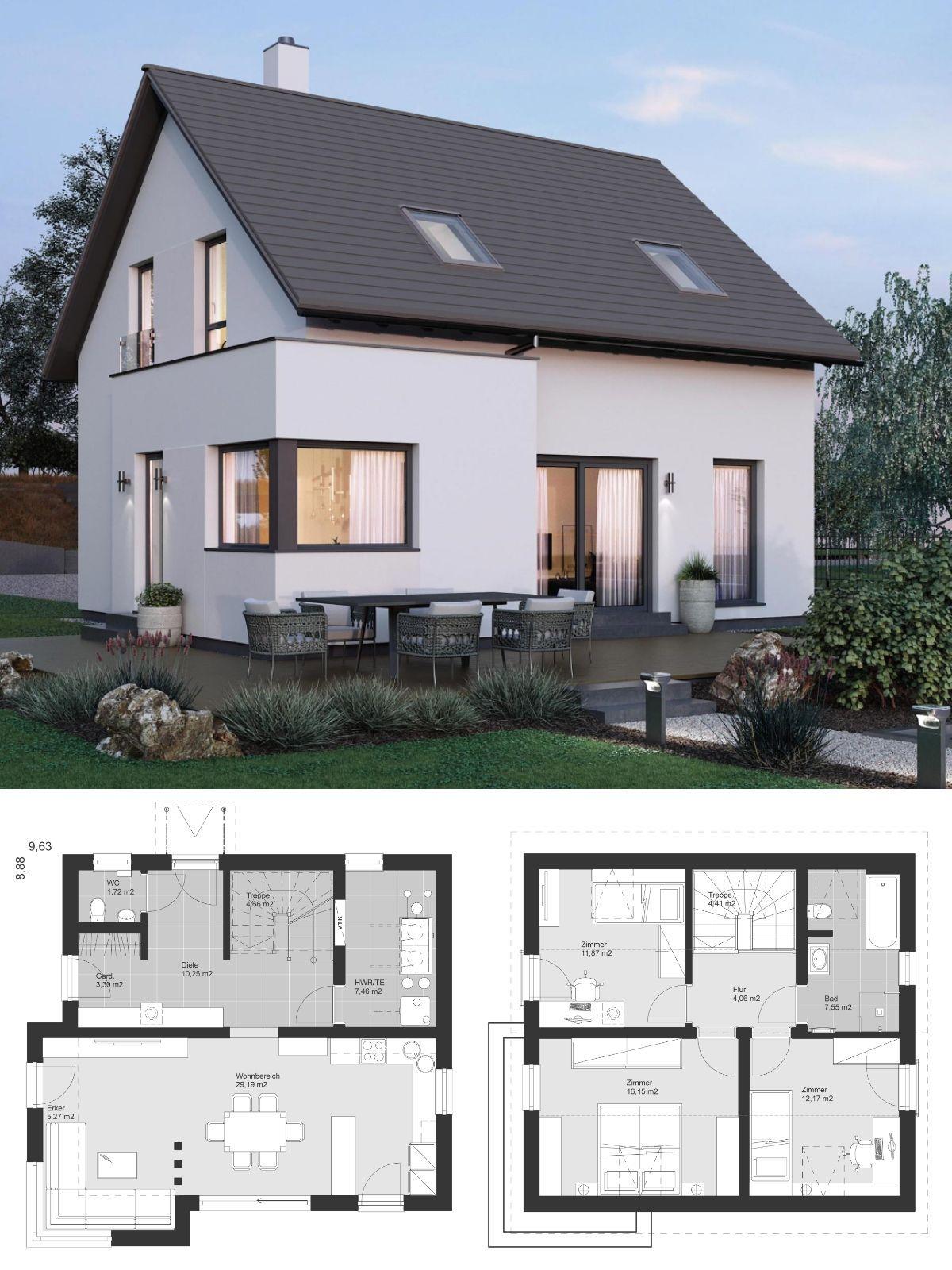 Modernes Einfamilienhaus klein mit Satteldach Architektur