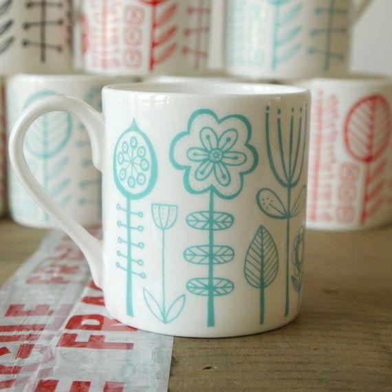 bloomsbury  bone china mug in soft turquoise by summersville