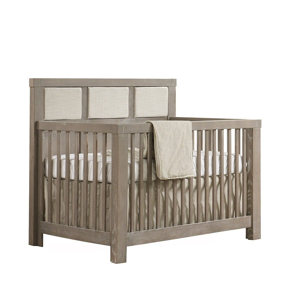 Natart crib for sale - Natart Rustico Collection 4 In 1 Convertible Crib In Sugar Cane With Upholstered Panel In Talc