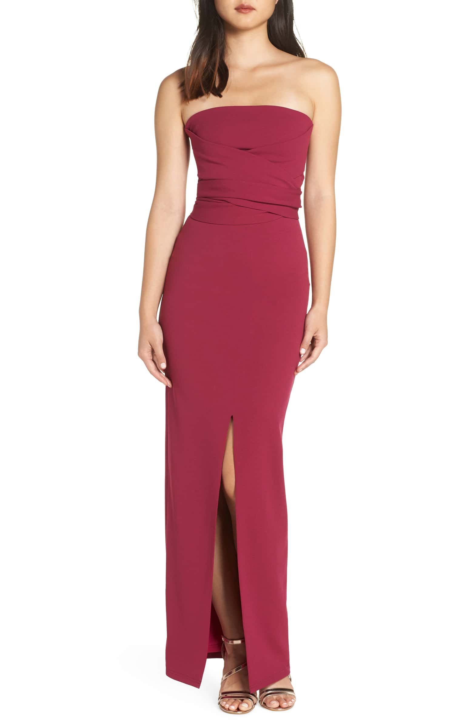Lulus Own The Night Strapless Column Gown Nordstrom Strapless Maxi Dress Column Gown Strapless Dress Formal [ 2392 x 1560 Pixel ]