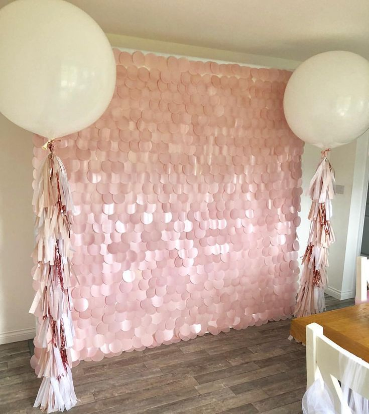 ⓟⓡⓞⓟ ⓜⓔ ⓟⓡⓔⓣⓣⓨ ➸ ?Blush Pink Sequin Wall & Balloon Package ? All set up for today's 1st birthday party #21stbirthdaydecorations