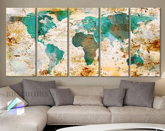 Browse unique items from boxcolors on etsy a global marketplace of xlarge 5 panels ea art canvas print world map original watercolor texture old wall design home office decor green framed depth gumiabroncs Choice Image