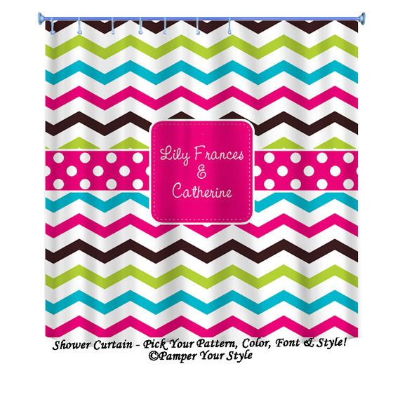 Multi Color Chevron Shower Curtain Custom by PAMPERYOURSTYLE ...