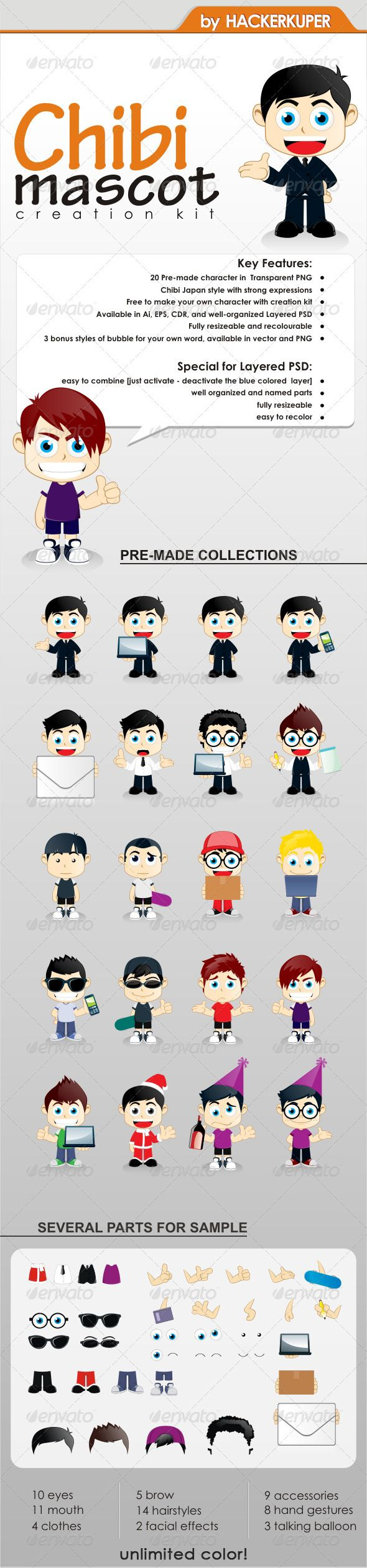 Chibi Mascot Creation Kit  For General Business  Business