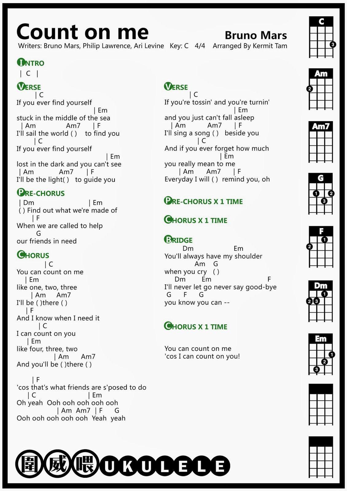 Ukulele Bruno Mars Count On Me Ukulele Chord Guitar