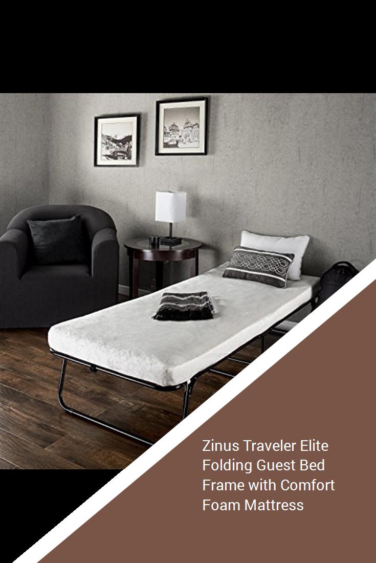 - Zinus Traveler Elite Folding Guest Bed Frame With Comfort Foam