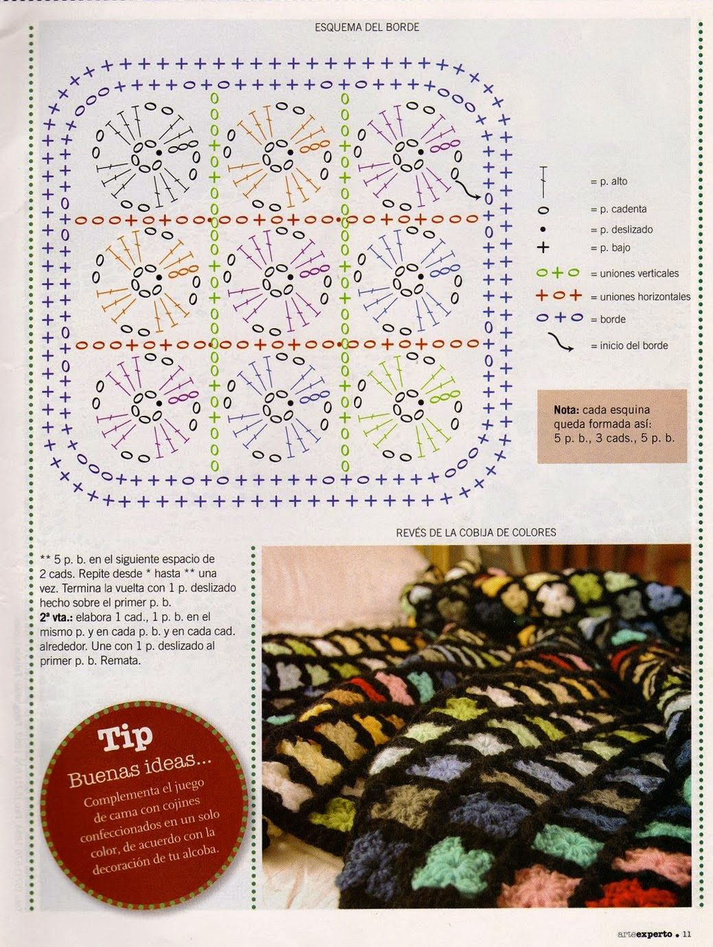 Manta con 1008 motivos unidos - Patrones Crochet | Crochet Afghan ...