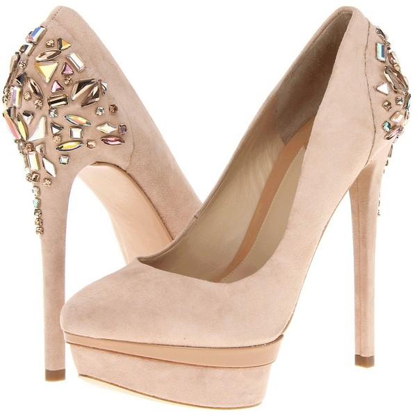 B Brian Atwood Ferranta ($315) ❤ liked on Polyvore featuring shoes, pumps, heels, sapatos, saltos, light natural suede, high heel pumps, high heel platform shoes, platform pumps and platform heels pumps