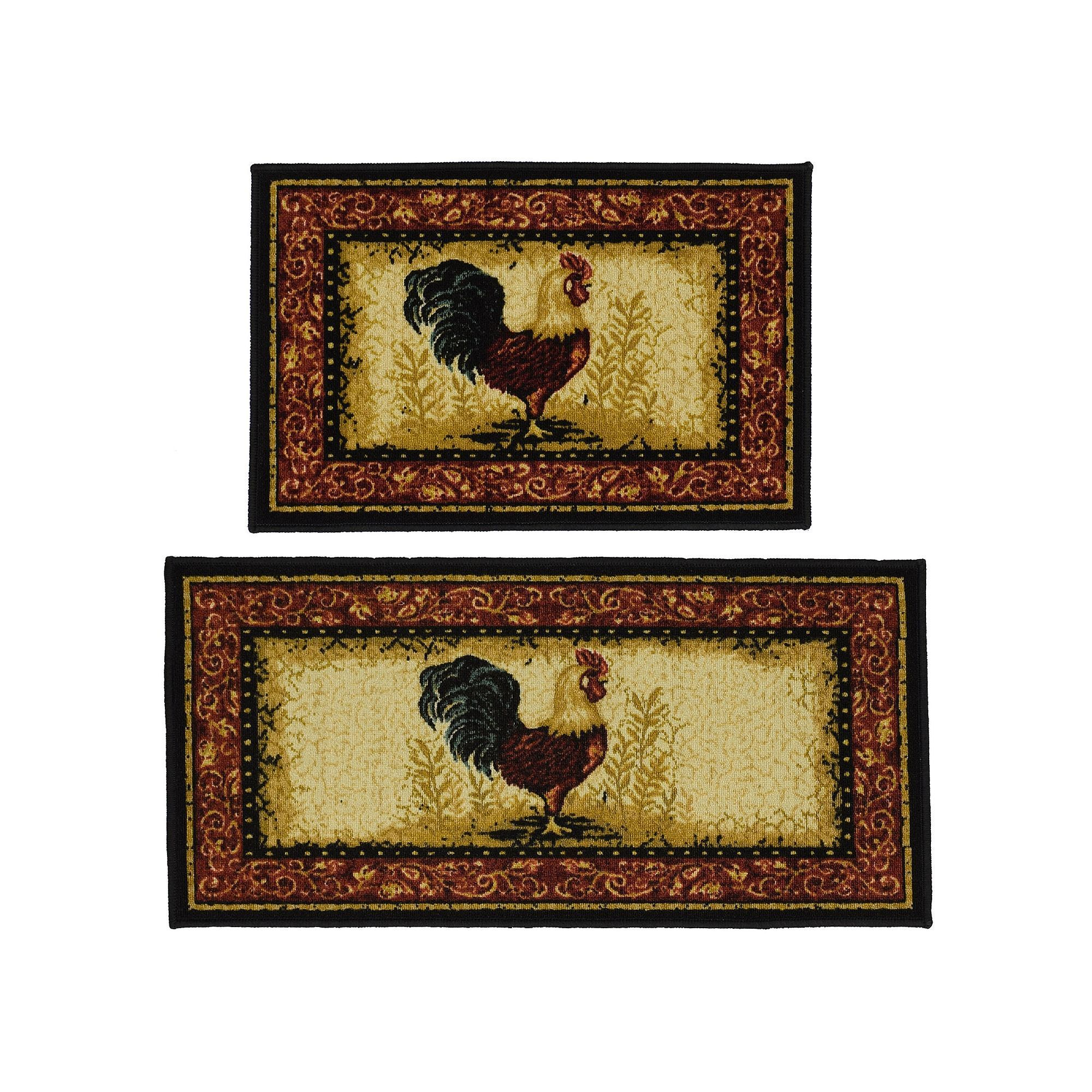 Madison 2 Piece Framed Rooster Rug Set