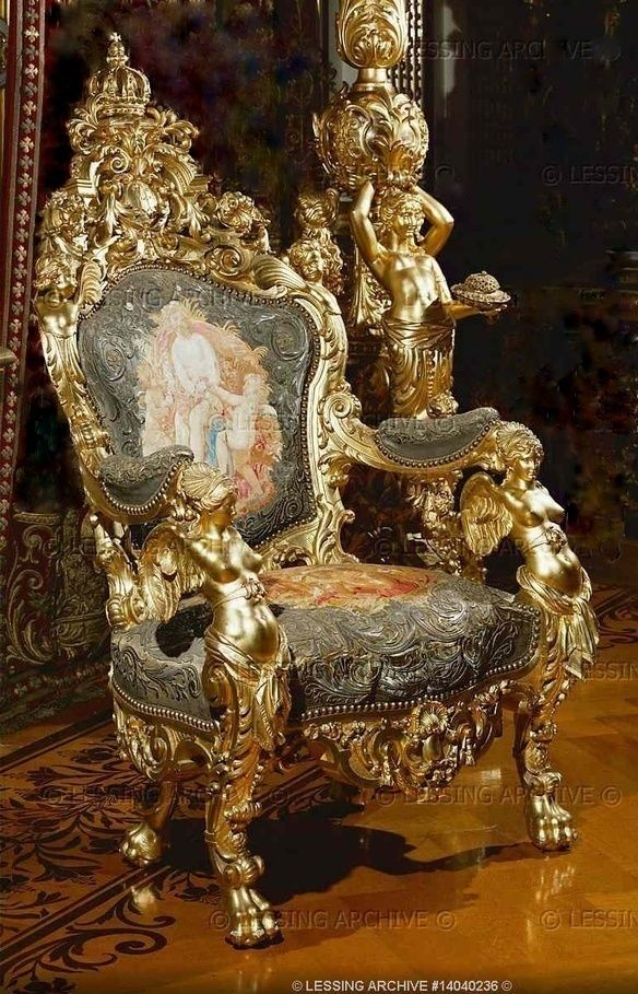 Gilded Throne in the king's study in Herrenchiemsee, a residence built for Ludwig II of Bavaria, 19th c.