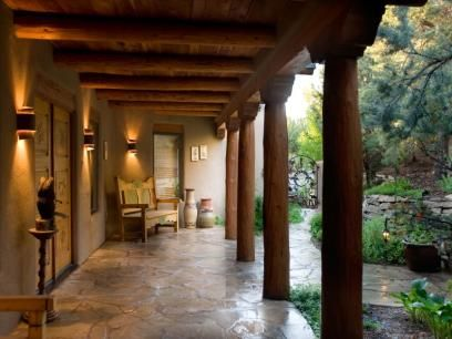 Santa Fe Porch Santa Fe Home Santa Fe Decor Hacienda Style