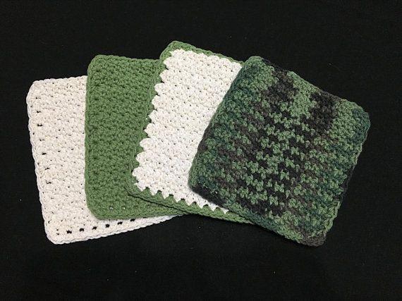 Cotton Crochet Dishcloth / Washcloth Crochet dishcloths, Cotton - solid green border