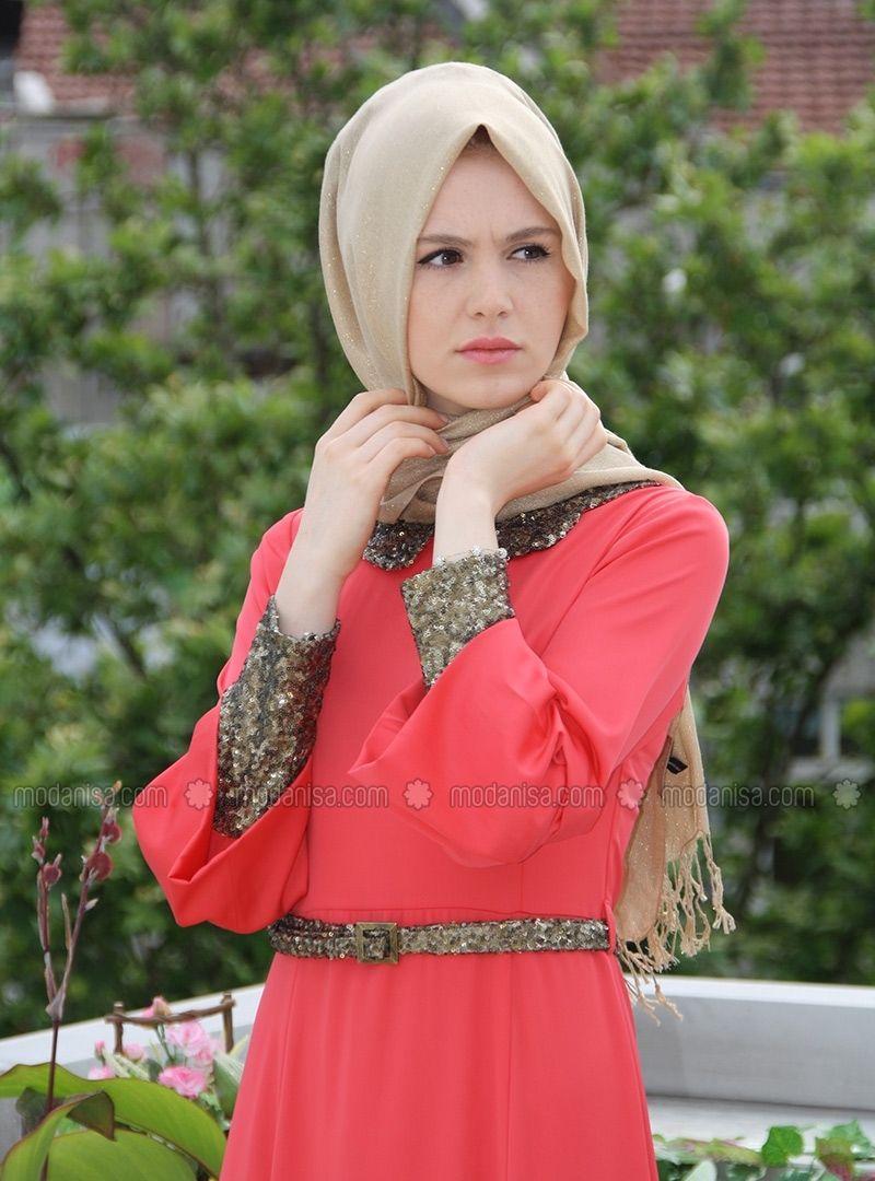 fa122d30c500f PULLU ABİYE TULUM - NAR ÇİÇEĞİ - İZ OTANTİK - #modanisa #tesettür #hijab