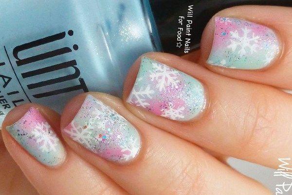 Short And Pink Nail Art For Chritsmas Uñas Cortas Decoradas De