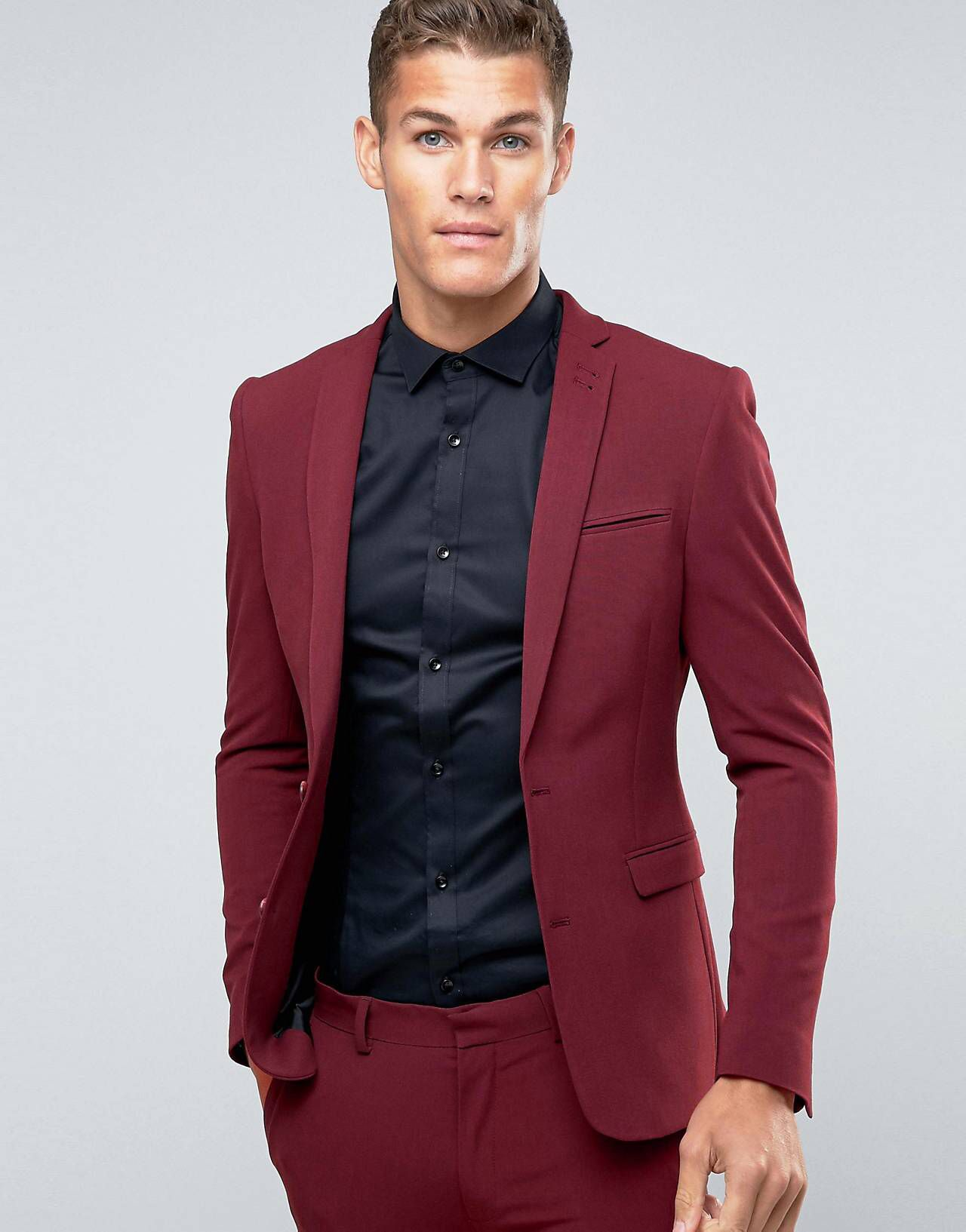 cowboy Competitors Indoors  LOVE this from ASOS!   Red blazer mens, Skinny suits, Mens skinny fit suits