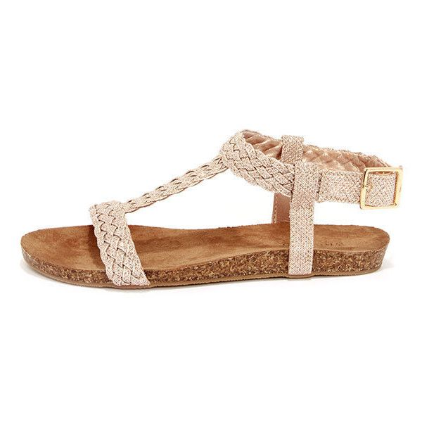 d4b7ba5679b62 Acropolis Gold Braided Ankle Strap Sandals ( 100) ❤ liked on Polyvore  featuring shoes