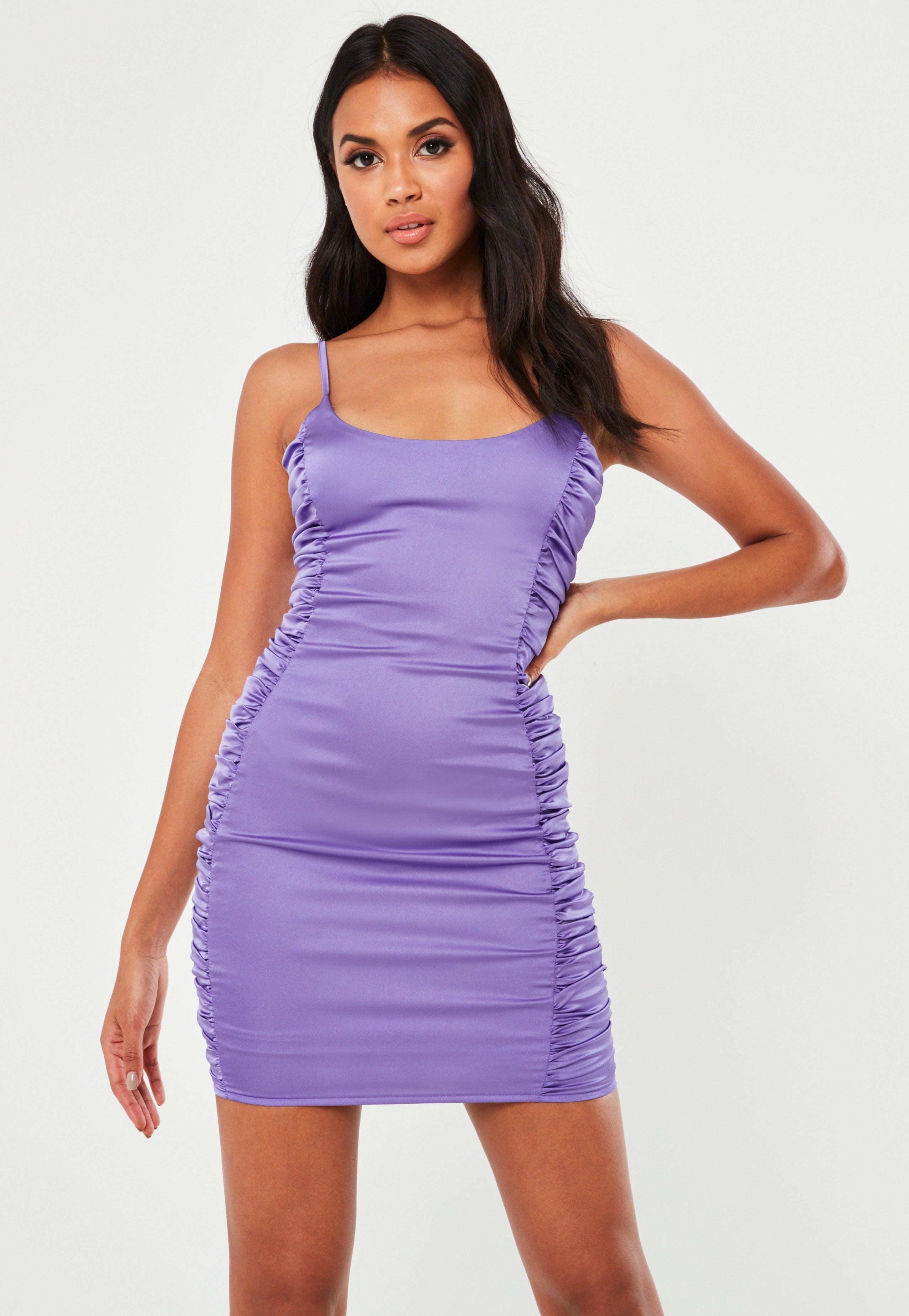 Missguided purple stretch satin ruched side mini dress
