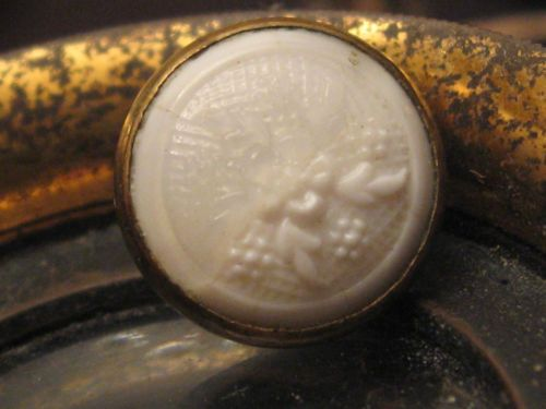 EARLY RARE FRENCH WHITE CAMEO BUTTON -  Collector Note: Glass set in metal - early gilt