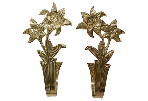 Brass Floral Drapery Tiebacks, Pair on OneKingsLane.com