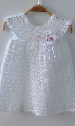 Christening Gown Baby Dress, Crochet Dress, Baptis