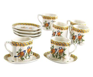 Set di 6 tazzine caffe' con piattino in stoneware - 9x6x7 cm