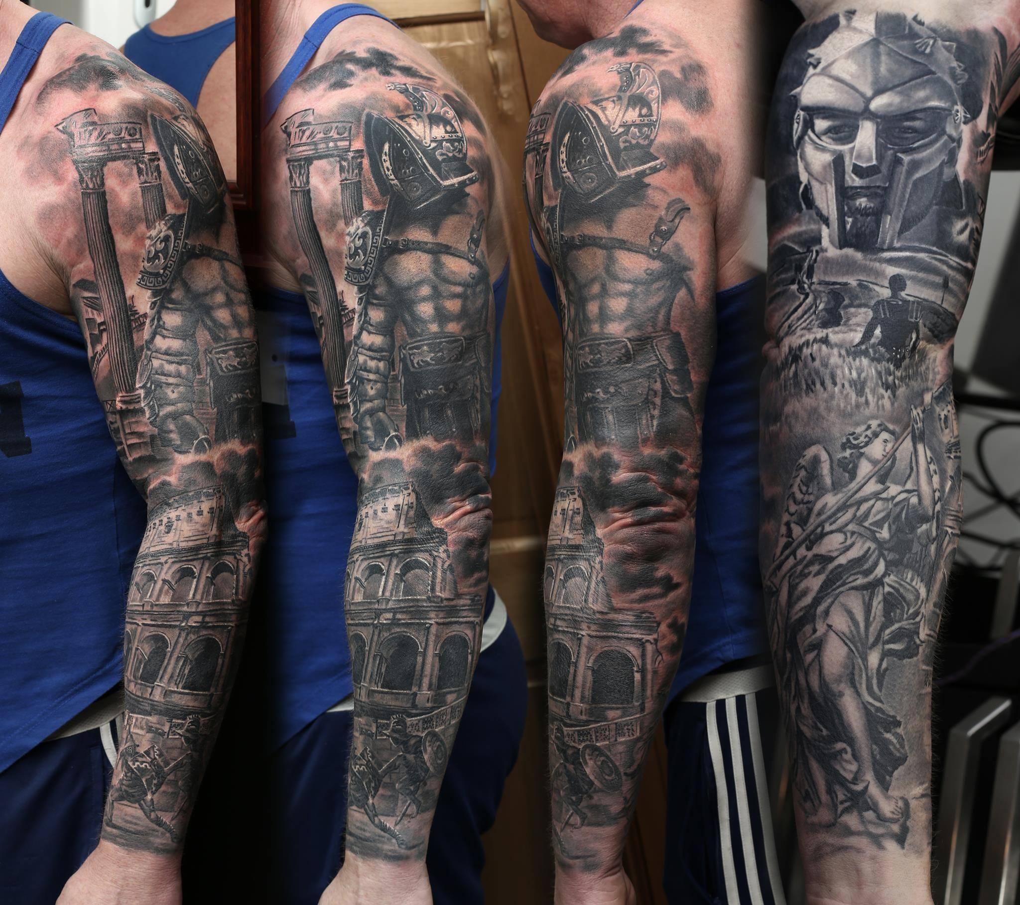 Greek Sleeve Tattoo Artist Mindy Www Holytrinitytattoos Co Uk Holytrinitytattoos Gmail Com Send Us Tattoo Sleeve Men Sleeve Tattoos Gladiator Tattoo