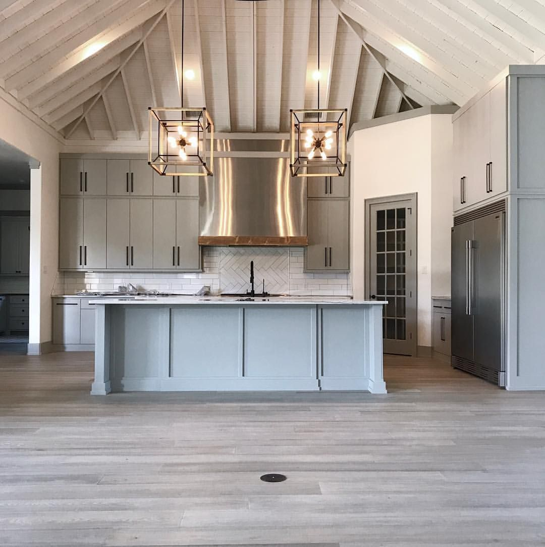 rustic industrial modern kitchen with shiplap ceilings gray cabinets blue island and gray wood on kitchen interior grey wood id=73948