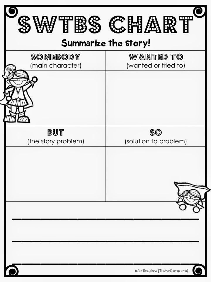 FREE Be a SUMMARY Super Hero! Somebody Wanted to, But, So - book summary template