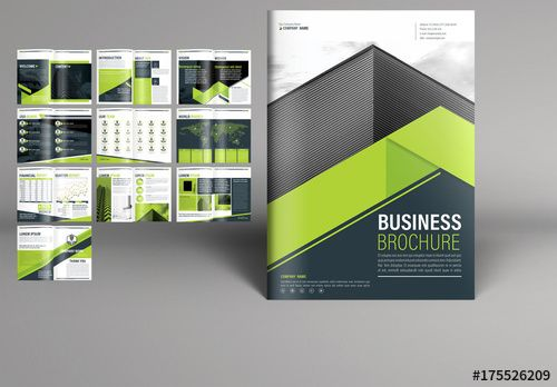 Business Brochure Layout With Green Accents Brochure Business