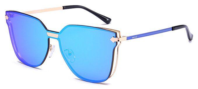 """d819c16b77b Amazon.com  PRIVÉ REVAUX """"The Madam"""" Handcrafted Designer Futuristic Sunglasses  For Women (Blue)  Clothing"""