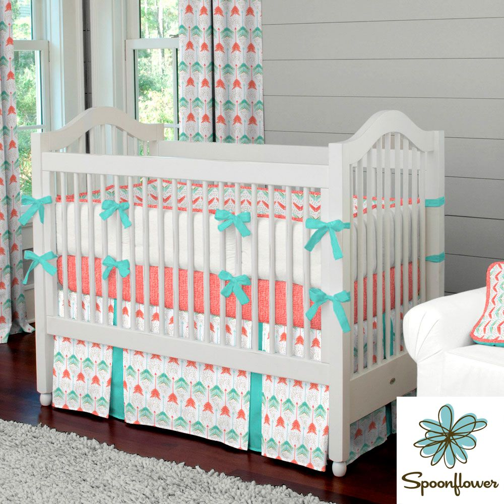 Solid emerald turquoise fabric by the yard teal fabric carousel - Coral And Teal Arrow Crib Bedding Carousel Designs Vibrant And Modern Our Coral