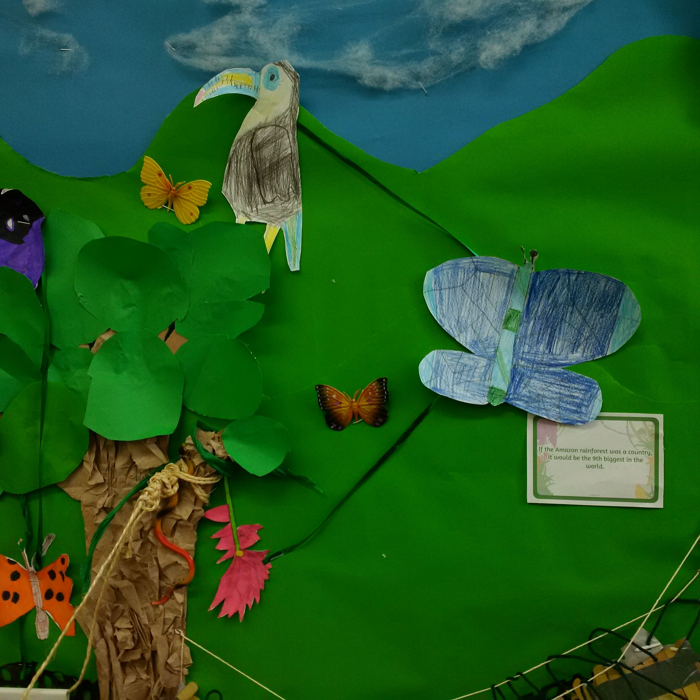 We worked in groups to design then make rainforest food