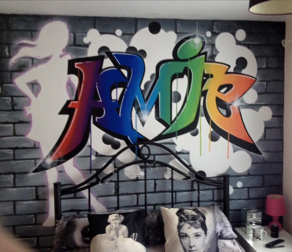 Graffiti wall art bedroom - Amie Bedroom Graffiti