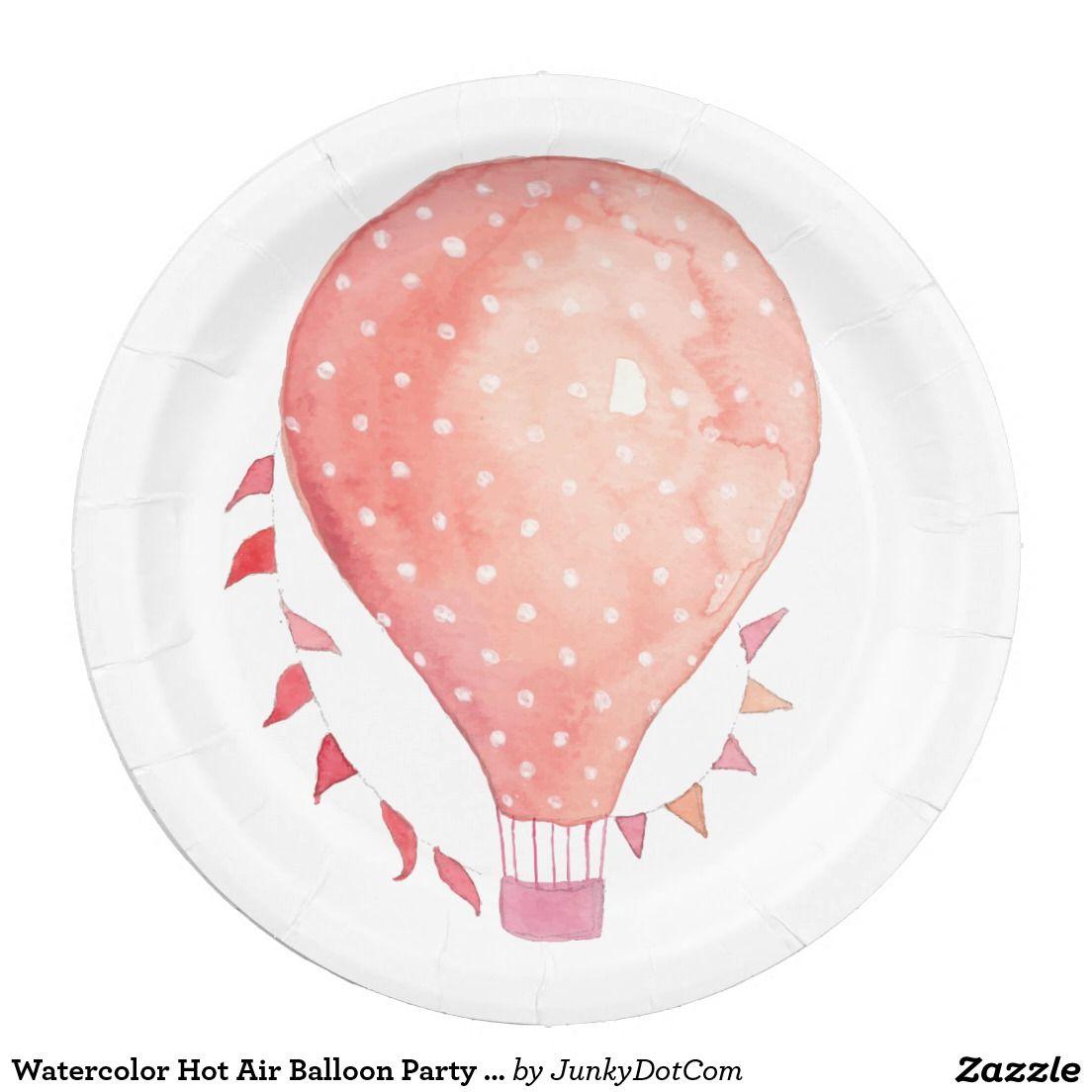 Watercolor Hot Air Balloon Party Peach Paper Plate @zazzle #junkydotcom Aug 21 2016 16x  sc 1 st  Pinterest & Watercolor Hot Air Balloon Party Peach Paper Plate @zazzle ...