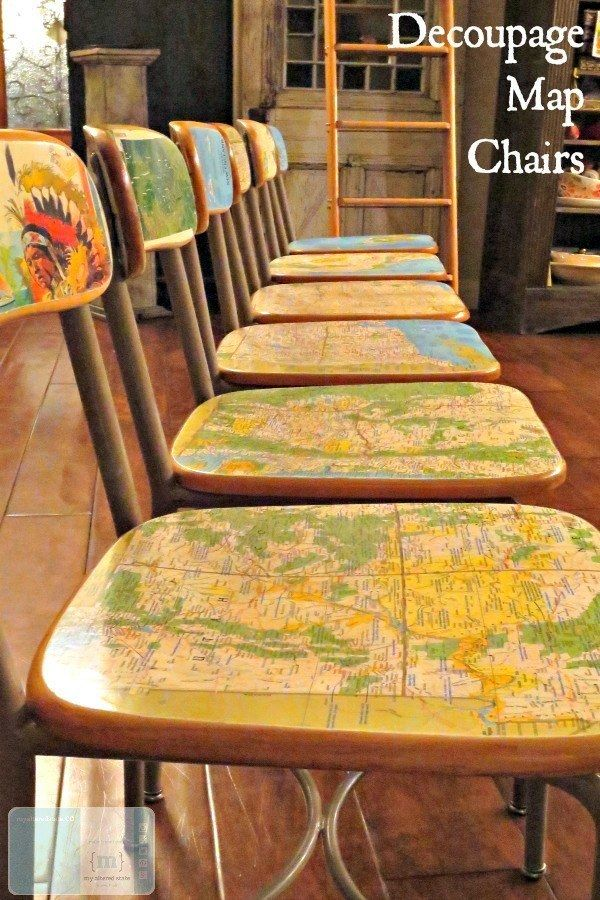 Decoupage Map Chairs Decoupage furniture, Map crafts