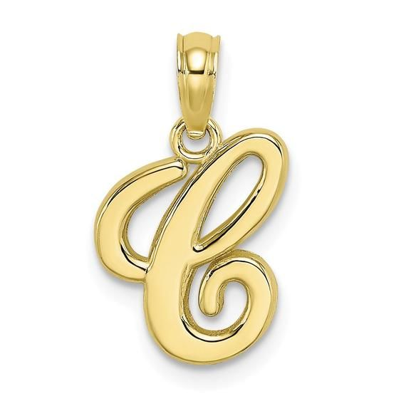 10k Yellow Gold Script Initial /'S/' Polished Charm Pendant