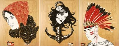 Screen prints on wood.  Love!