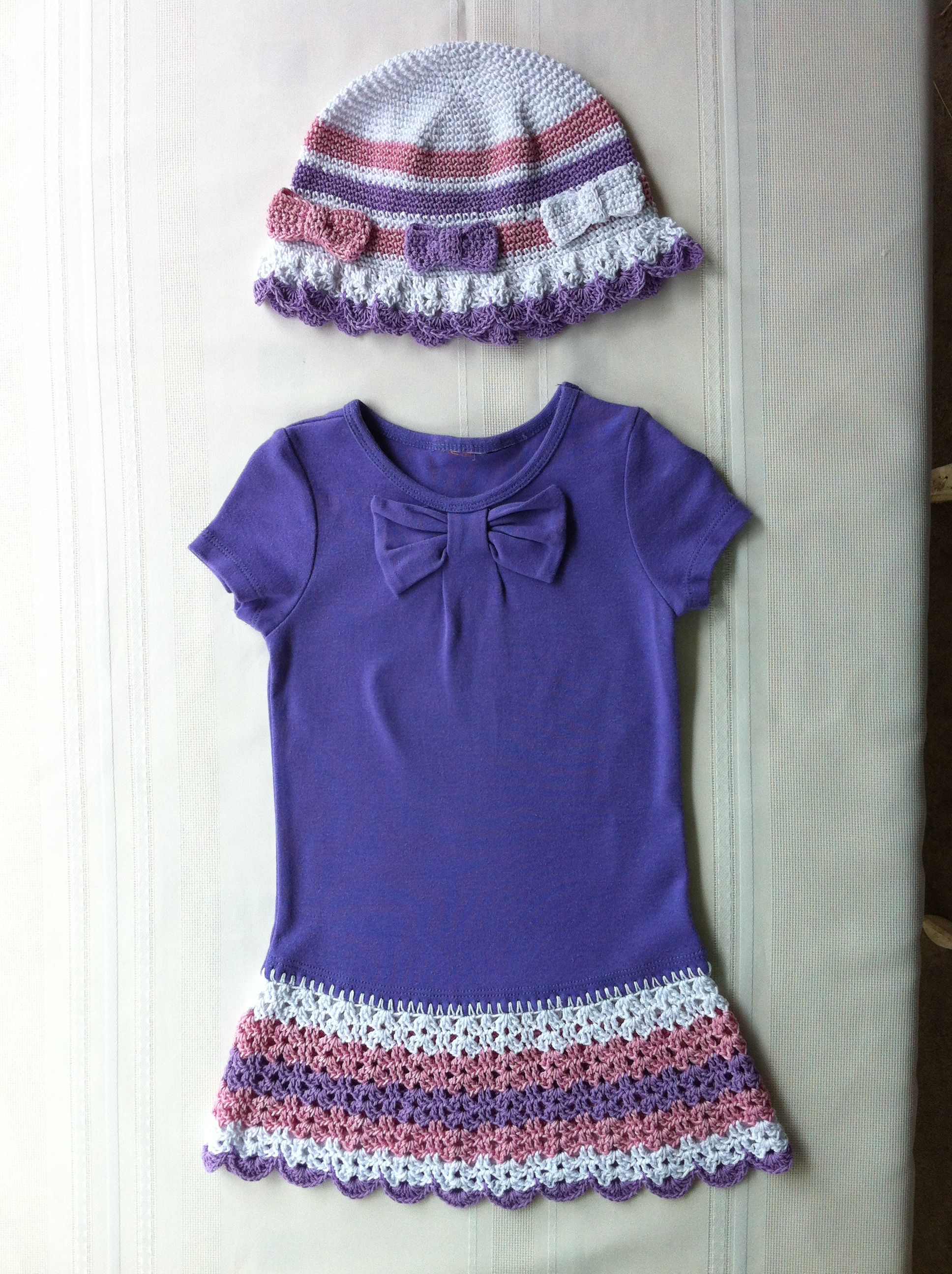 T Shirt dress and matching hat. Pattern from Maggie\'s crochet ...