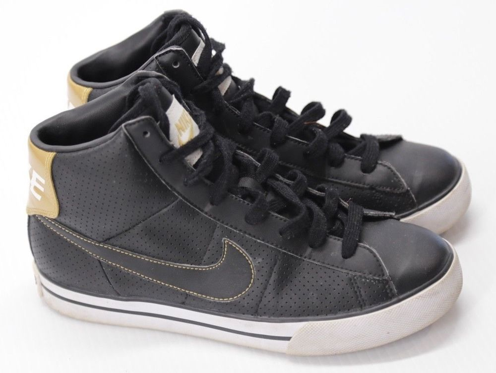 Details About Nike Kid S High Top Sneakers Black Lace Up Athletic
