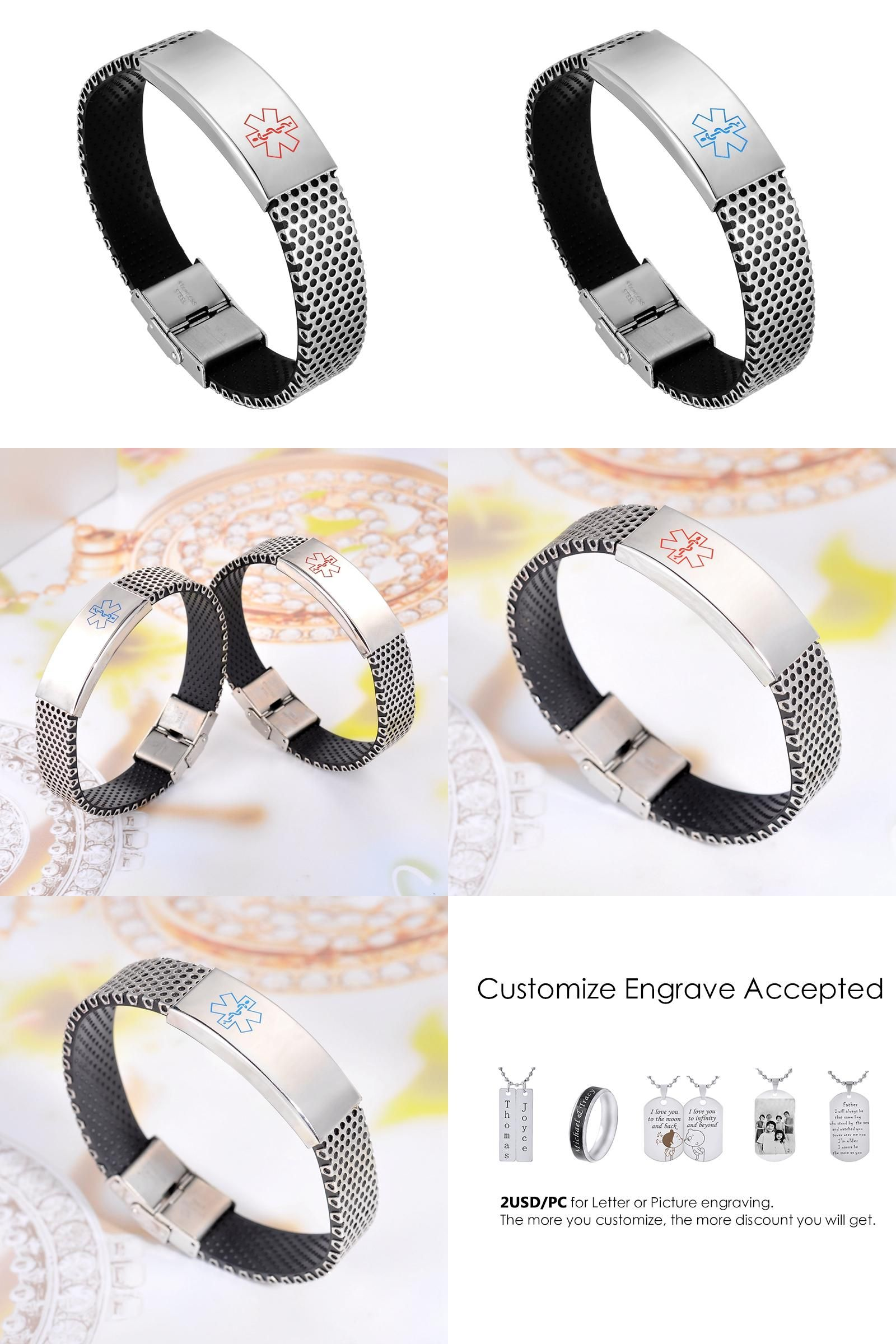 Visit to buy lasperal stainless steel bracelet medical design